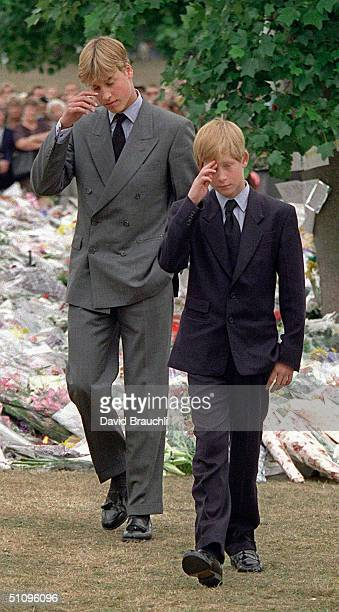 Prince William Left And Prince Harry Gesture After They Arrived At Kensington Palace To View Some Of The Flowers And Mementos Left In Memory Of Their...