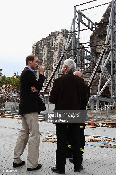 Prince William looks at the destruction at the Christchurch Cathedral on March 17 2011 in Christchurch New Zealand His Royal Highness is in New...