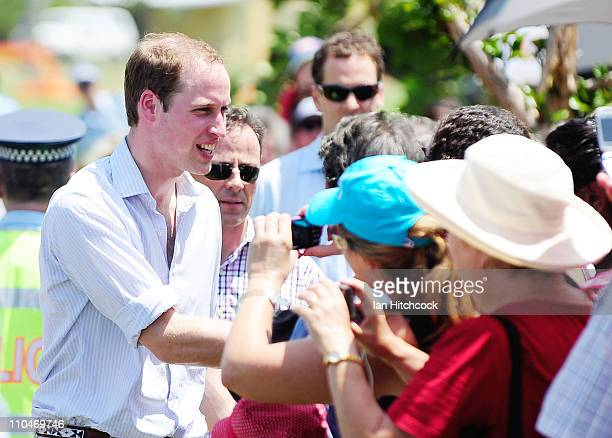 Prince William meets locals at the Cardwell Community Hall on March 19 2011 in Cardwell Australia His Royal Highness is in Queensland on a two day...