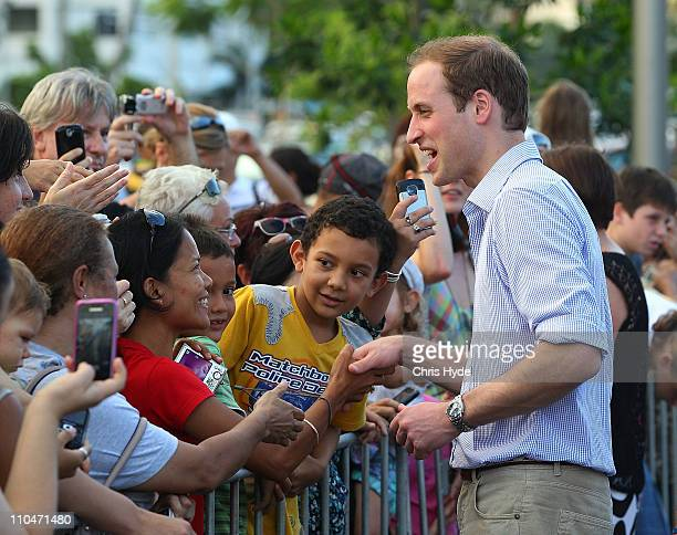 Prince William meets with Cairns residents on March 19 2011 in Cairns Australia His Royal Highness is in Queensland on a two day visit to tour...
