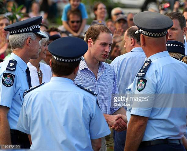Prince William meets with Queensland Police Service on March 19 2011 in Cairns Australia His Royal Highness is in Queensland on a two day visit to...
