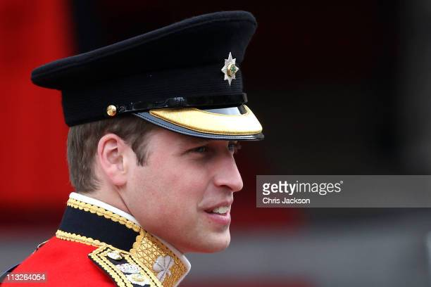 Prince William of Wales arrives to attend his Royal Wedding to Catherine Middleton at Westminster Abbey on April 29 2011 in London England The...