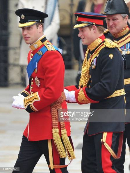 Prince William of Wales arrives with his brother Prince Harry of Wales to attend the Royal Wedding of Prince William to Catherine Middleton at...