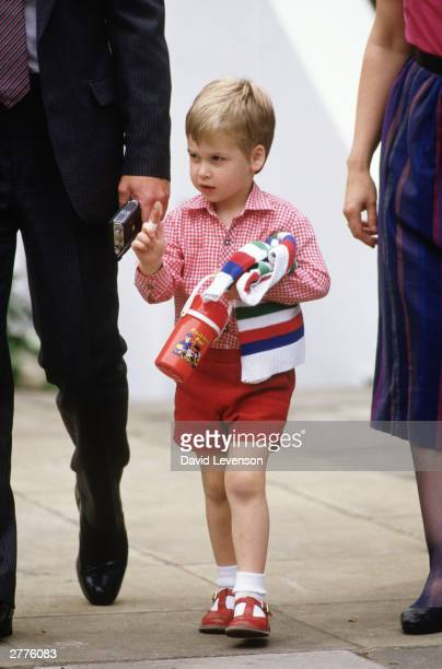 Prince William on his first day at nursery school on September 24 1985 He arrived with Prince Charles and Diana Princess of Wales for his first day...
