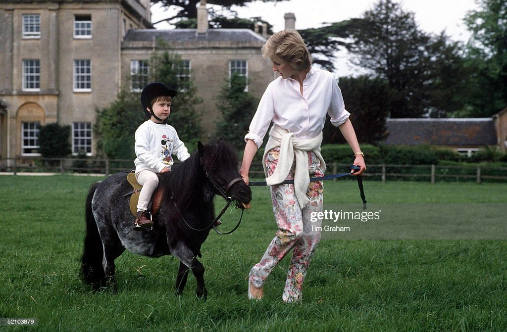 Prince William On His Pony At Highgrove With Princess Diana