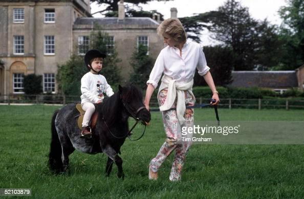 Prince William On His Pony At Highgrove With Princess Diana