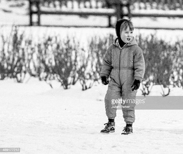 Prince William out for a walk in the snow in a London Park on February 11 1986 in London United Kingdom