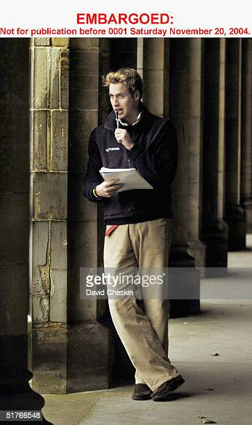 Prince William pauses in St Salvator's Quad Monday in this photo taken on November 15 at St Andrews University where he is a student The Prince is in...