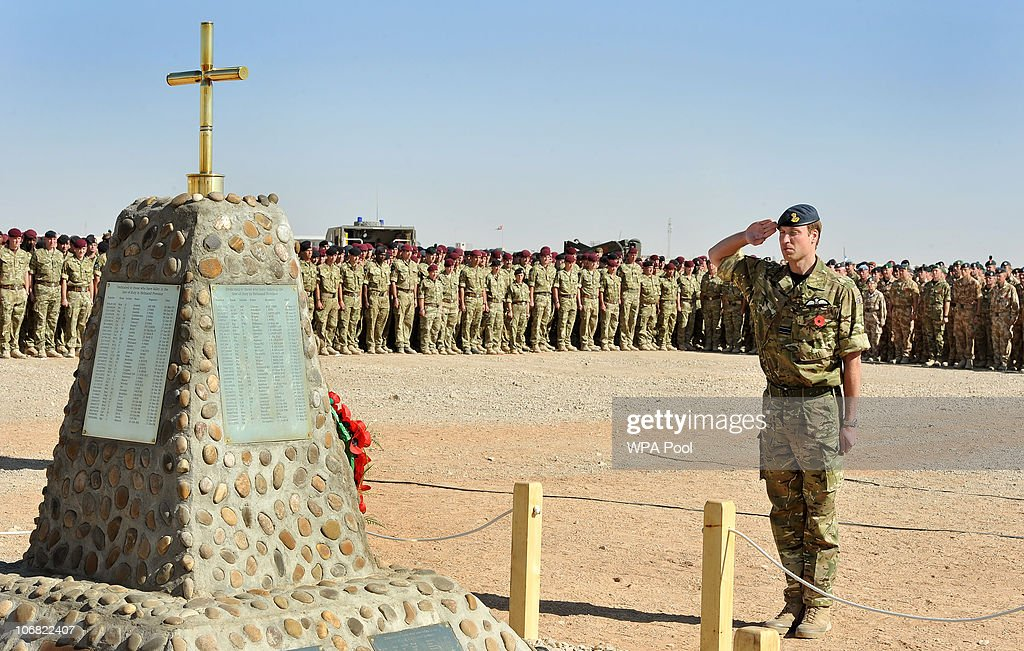 Prince William places a wreath on the memorial to the British Soliders killed in Afghanistan during a Remembrance Day ceremony at Camp Bastion on...