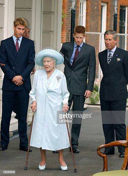 Prince William Prince Charles and Prince Harry join in the celebrations to mark the Queen Mother''s 101st birthday August 4 2001 in London
