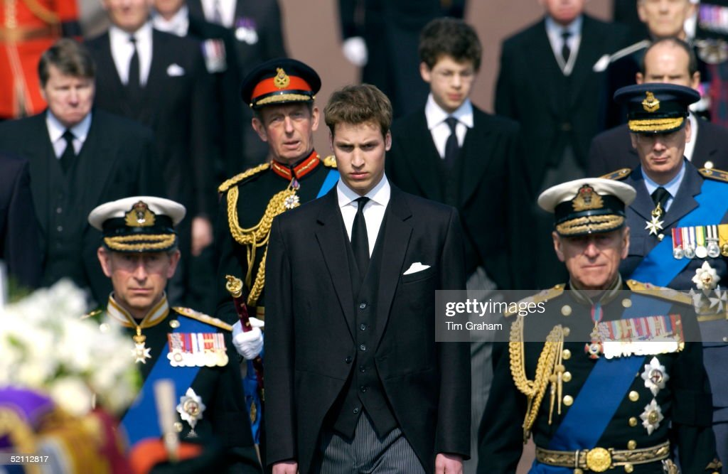 Prince William Prince Charles And Prince Phillip Follow The Coffin Of The Queen Mother On The Mall As It Is Taken To Westminster Hall Where It Will...