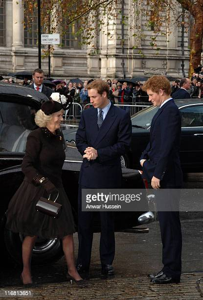 Prince William Prince Harry and Camilla Duchess of Cornwall arrive for a service of celebration for the Diamond Wedding Anniversary of The Queen and...