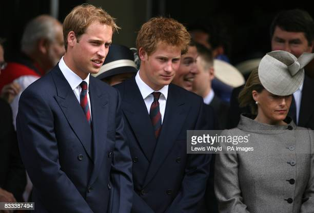 Prince William Prince Harry and Sophie Countess of Wessex leave the Service of Thanksgiving for the life of Diana Princess of Wales at the Guards'...
