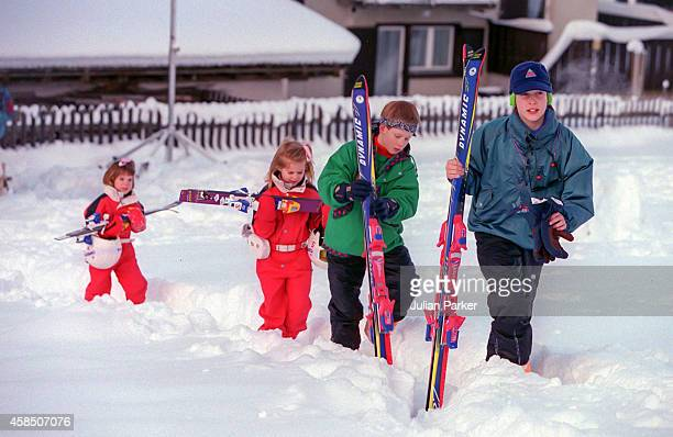 Prince William Prince Harry Princess Beatrice and Princess Eugenie on a Skiing holiday in Klosters Switzerland on January 4 1995 in Klosters...
