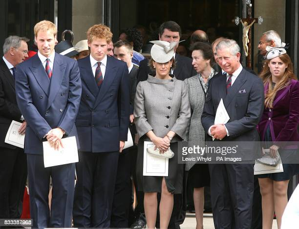 Prince William Prince Harry Sophie Counteess of WessexViceAdmiral Timothy Laurence Princess Anne Prince Charles and Princess Beatrix after the...