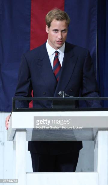 Prince William reads from the lectern during the Service of Thanksgiving the 10th Anniversary Memorial Service For Diana Princess of Wales at Guards...