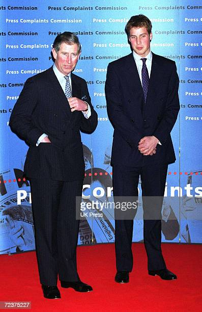 Prince William right and his father The Prince of Wales attend the Press Complaints Commission's 10th Anniversary Reception at London's Somerset...