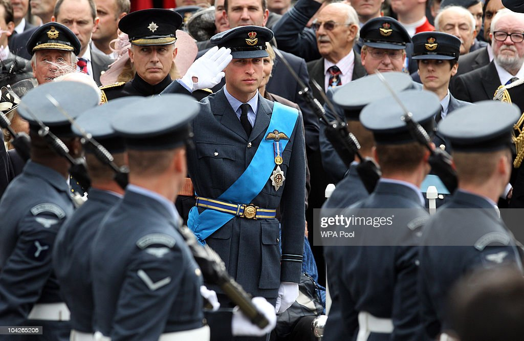 <a gi-track='captionPersonalityLinkClicked' href=/galleries/search?phrase=Prince+William&family=editorial&specificpeople=178205 ng-click='$event.stopPropagation()'>Prince William</a> salutes while watching a parade during the National Commemorative Service for the 70th Anniversary of the Battle of Britain at Westminster Abbey on September 19, 2010 in London, England.