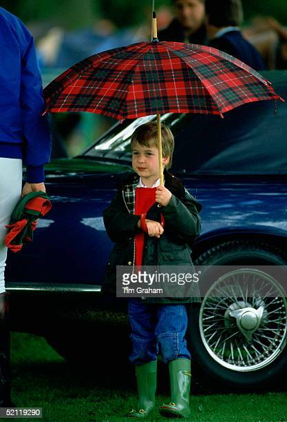 Prince William Sheltering From The Rain Underneath A Large Tartan Umbrella As He Watches His Father Play Polo At Cirencester Park Polo Club The...
