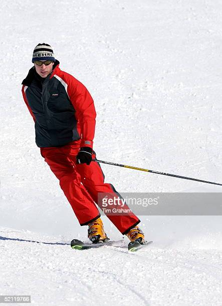 Prince William Skiing At A Photocall During A Holiday With His Father