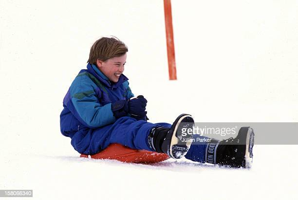 Prince William Sledging In Lech Austria With His Brother Prince Harry On An Annual Ski Holiday With Their Mother The Princess Of Wales