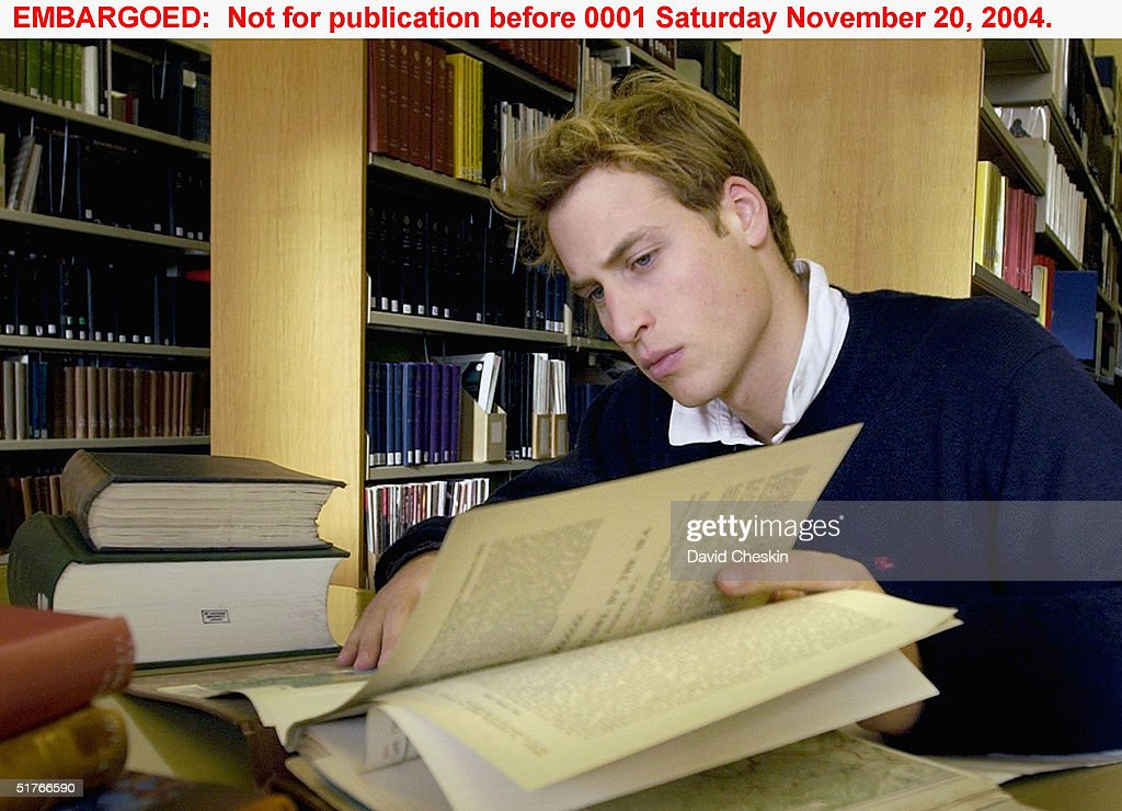 Prince William studies in the main university library on November 15 at St Andrews University Scotland The Prince is in the last year of his fouryear...