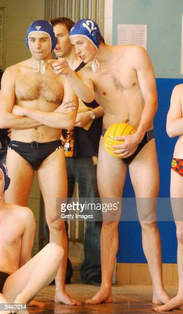 HRH Prince William takes a break during his water polo debut for the Scottish National Universities Squad in the Annual Celtic Nations Tournament...