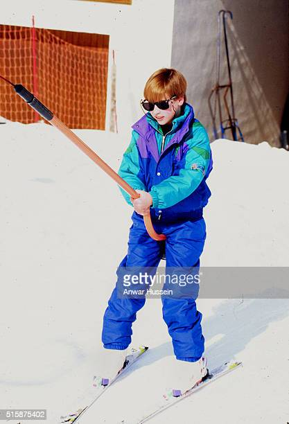 Prince William takes a ski lift during a skiing holiday with his mother Diana Princess of Wales who at the time was undergoing her break up from...