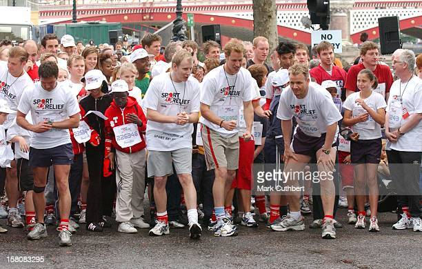 Prince William Takes Part In A One Mile Charity Run In Central London In Aid Of 'Sport Relief' Prince Harry Gave His Support From The Crowd As He...