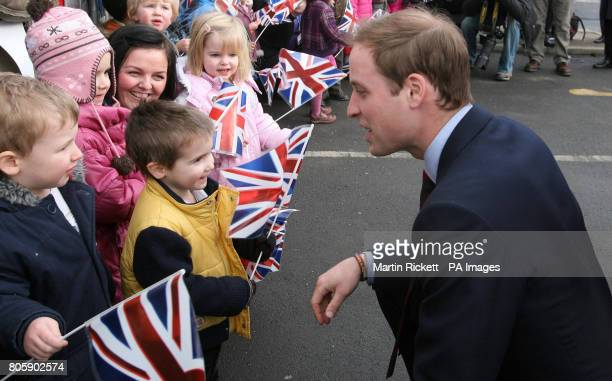 Prince William talks to children from the nursery at Alder Hey Children's Hospital in Liverpool