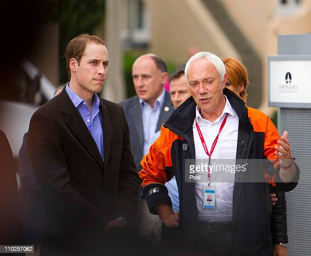 Prince William talks with Christchurch Mayor Bob Parker at the Christchurch Arts Centre on March 17 2011 in Christchurch New Zealand His Royal...