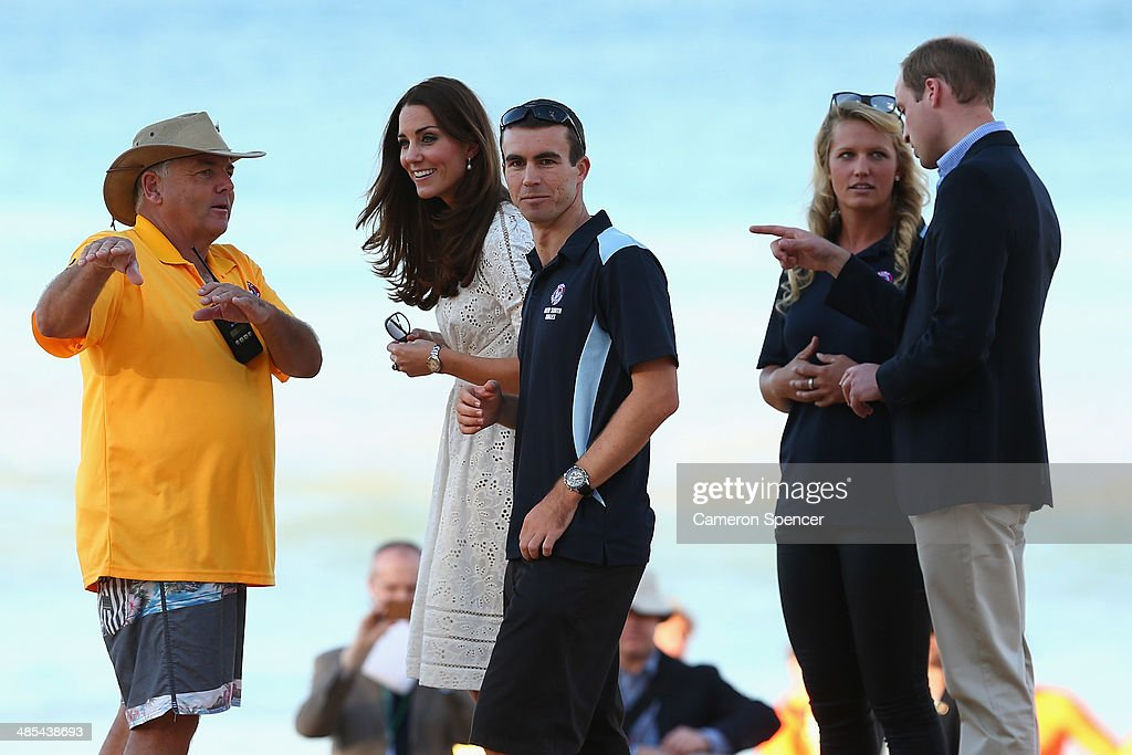 Prince William, the Duke of Cambridge and <a gi-track='captionPersonalityLinkClicked' href=/galleries/search?phrase=Catherine+-+Duchess+of+Cambridge&family=editorial&specificpeople=542588 ng-click='$event.stopPropagation()'>Catherine</a>, Duchess of Cambridge watch a surf lifesaving presentation at Manly Beach on April 18, 2014 in Sydney, Australia. The Duke and Duchess of Cambridge are on a three-week tour of Australia and New Zealand, the first official trip overseas with their son, Prince George of Cambridge.