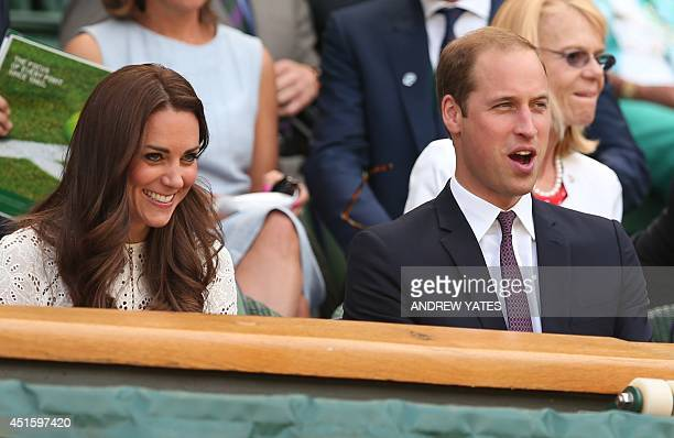 Prince William the Duke of Cambridge and his wife Catherine the Duchess of Cambridge sit in the Royal Box on Centre Court before the start of the...