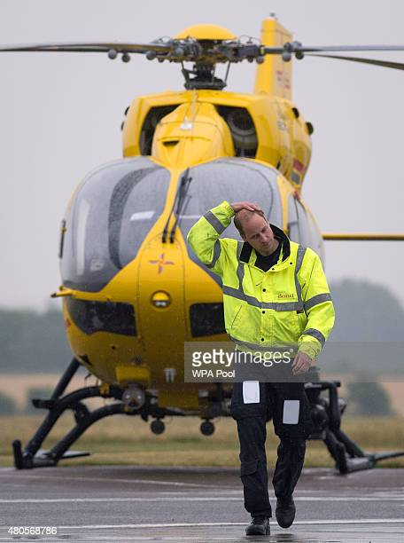 Prince William The Duke of Cambridge as he begins his new job with the East Anglian Air Ambulance at Cambridge Airport on July 13 2015 in Cambridge...