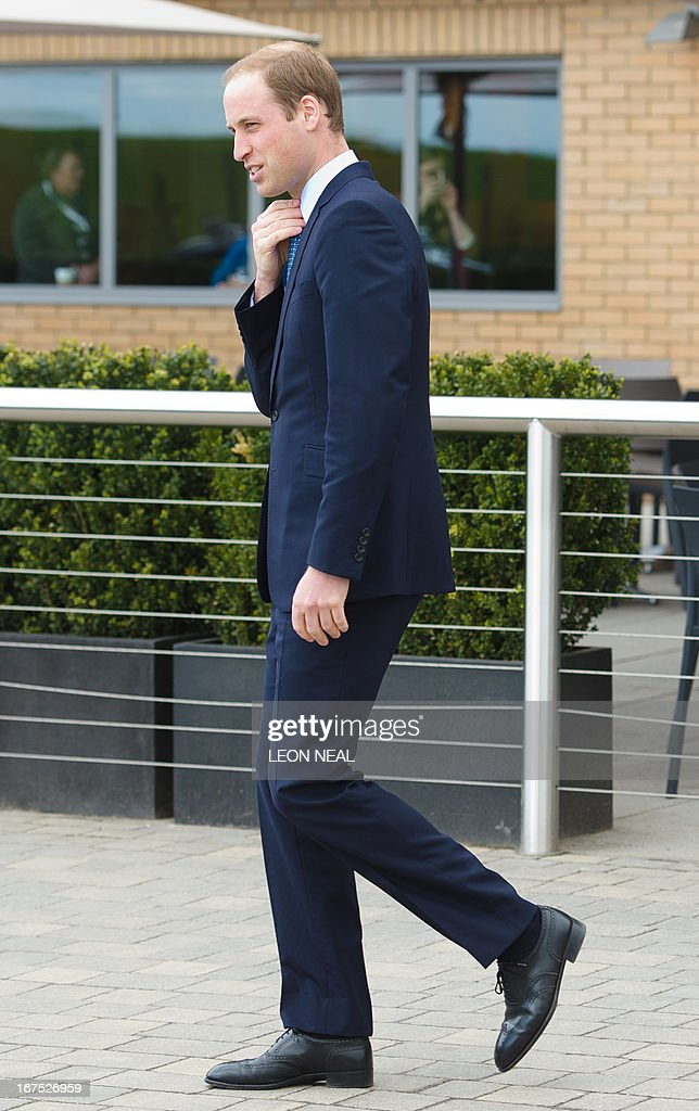 Prince William, the Duke of Cambridge leaves the Warner Brother's studio in Leavesden following a visit to mark the official inauguration of the visitor experience on April 26, 2013. Britain's Prince William, his wife Catherine and Prince Harry had a wizard time as they visited the Warner Brothers studios where the Harry Potter and Batman movies were filmed. The junior royals, who were officially opening the studios at Leavesden, north of London, got to try out props and costumes and waved wands on the set of the movies about the teenage wizard.