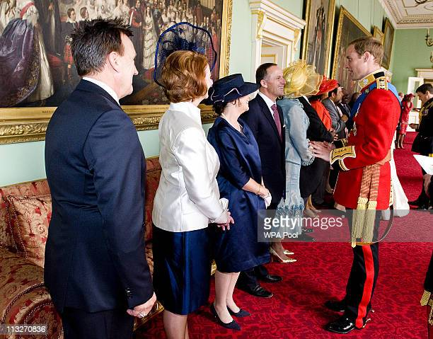 Prince William The Duke of Cambridge meets meets Prime Minister of New Zealand John Key and Mrs Bronagh Key at Buckingham Palace after his wedding to...