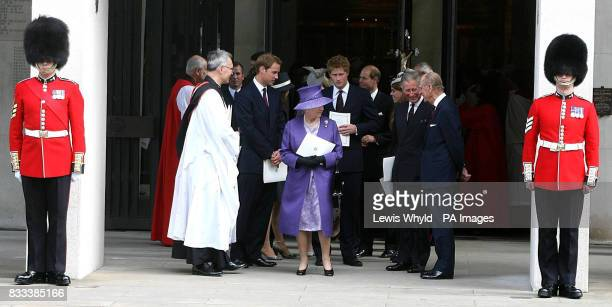 Prince William The Queen Prince Harry Prince Charles and the Duke of Edinburgh leave the Service of Thanksgiving for the life of Diana Princess of...
