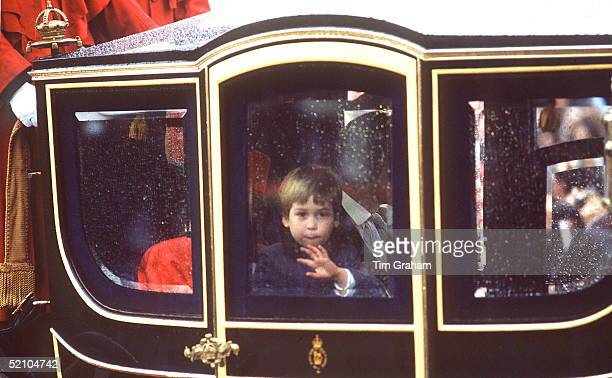 Prince William Travelling In A State Coach With His Parents In A Procession To Mark The Queen's 60th Birthday Waving Shyly To The Crowd On The Route
