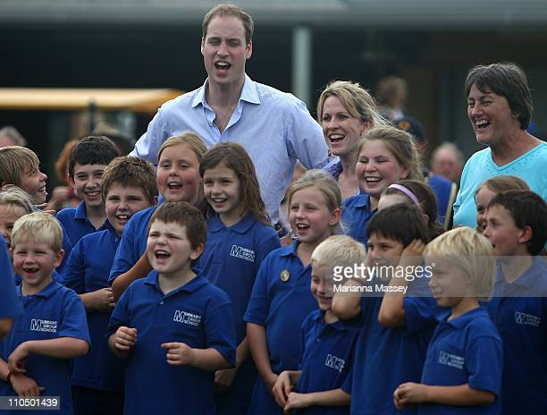 Prince William visits with local students from Marrabit at the Marrabit Recreational Grounds on March 21 2011 in Marrabit Australia His Royal...