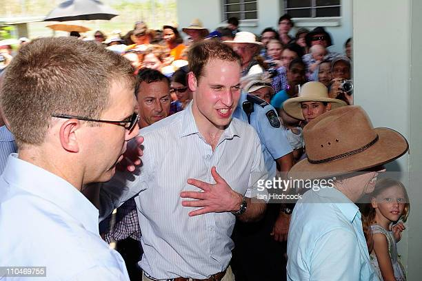 Prince William walks into the Cardwell Community Hall on March 19 2011 in Cardwell Australia His Royal Highness is in Queensland on a two day visit...