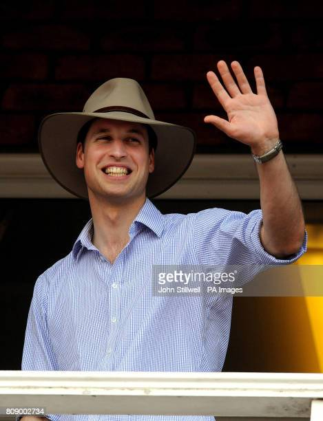 Prince William waves to the crowd whilst wearing an Akubra hat that was given to him at the Toowoomba Showgrounds where a concert took place for the...