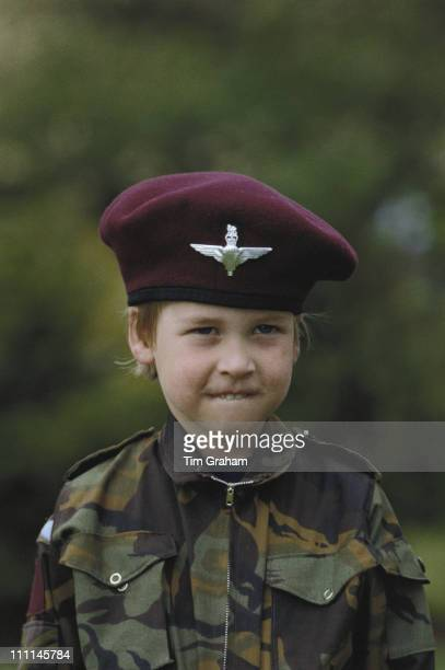 Prince William wearing the uniform of the Parachute Regiment of the British Army in the garden of Highgrove House in Gloucestershire 18th July 1986
