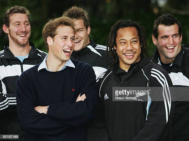 Prince William with All Black Captain Tana Umaga and teammates before a training sesssion at Western Springs Stadium on July 4 2005 in Auckland New...