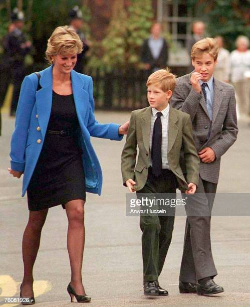 Prince William with Diana Princess of Wales and Prince Harry on the day he joined Eton in September 1995