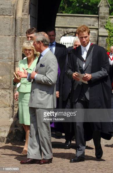 Prince William with his father Prince Charles and the Duchess of Cornwall leave William's graduation ceremony at the University of St Andrews on June...