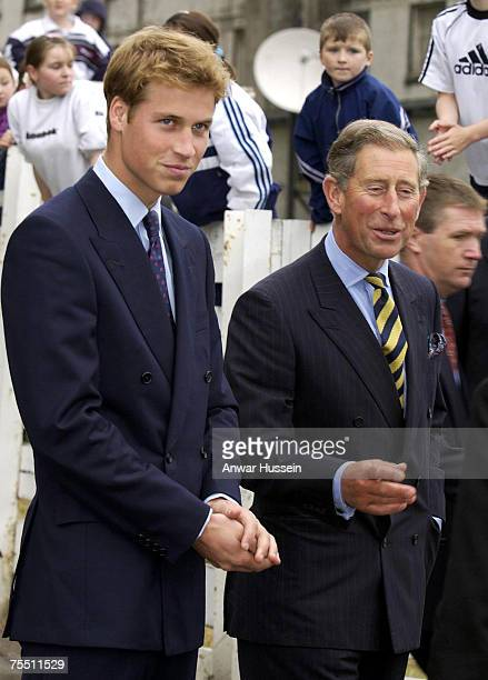 Prince William with his father The Prince of Wales visit Glasgow in Scotland in September 2001 just before starting university