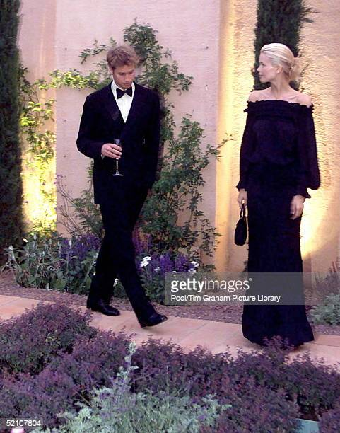 Prince William With Model Claudia Schiffer Attending A Party At Highgrove In Gloucestershire The Prince Was Taking His Father's Place As Due To A...