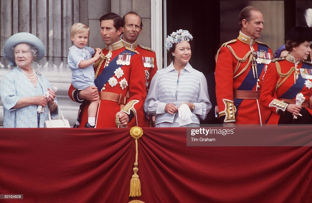 Prince William With Prince Charles The Queen Mother Princess Margaret And Other Members Of The Royal Family On The Balcony At Buckingham Palace After...