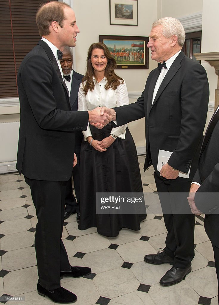 Prince William,Duke of Cambridge greets (LtoR) Kofi Annan, Melinda Gates and Lord Paddy Ashdown as he visits RUSI (Royal United Services Institute) to present the Chatham House (The Royal Institute of International Affairs) Prize 2014 in the Banqueting House on November 21, 2014 in London, England.