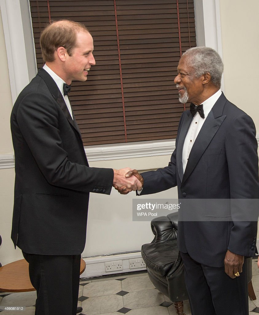 Prince William,Duke of Cambridge shakes hands with Kofi Annan as he visits RUSI (Royal United Services Institute) to present the Chatham House (The Royal Institute of International Affairs) Prize 2014 in the Banqueting House on November 21, 2014 in London, England.